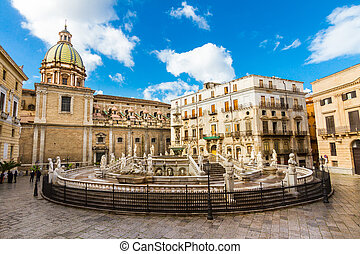 Fontana Pretoria in Palermo, Sicily, Italy - In the heart of...