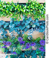 plantas, jardín, vertical, plaastic, de madera, olla, flores...