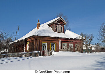 Old wooden house in winter - Old wooden house in snow,...