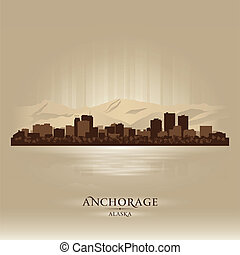 Anchorage Alaska city skyline silhouette. Vector...
