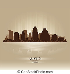Austin Texas city skyline silhouette Vector illustration