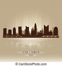 Columbus Ohio city skyline silhouette Vector illustration