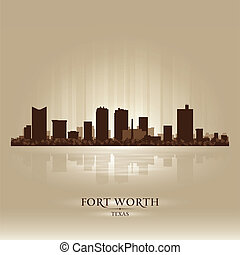 Fort Worth Texas city skyline silhouette. Vector...