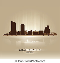 Grand Rapids Michigan city skyline silhouette. Vector...