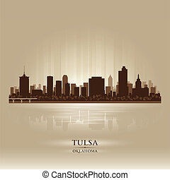 Tulsa Oklahoma city skyline silhouette Vector illustration