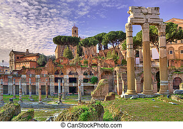 Ancient ruins. Rome, Italy. - Ancient ruins of old roman...