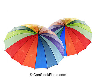 Rainbow umbrella on a white background