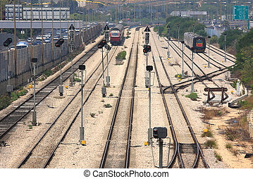 Trains on the tracks. Tel Aviv, Israel.