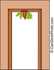 Mistletoe with red ribbon hanging in a doorway