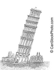 sketching of Pisa in Tuscany - sketching by pen of Leaning...