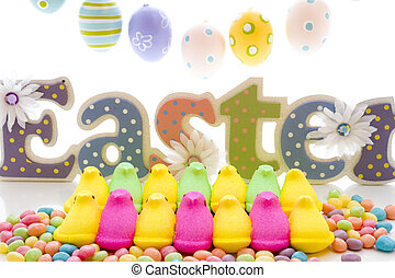 Marshmallow Chicks - Marshmallow chicks for Easter on a...