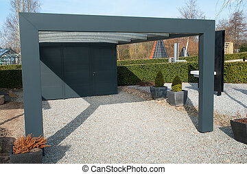 Modern carport car garage parking made from black metal and...