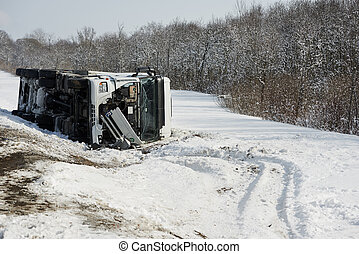 winter freight lorry car crash - Lorry trailer car crash...