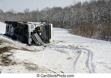 invierno, carga, Camión, coche, choque