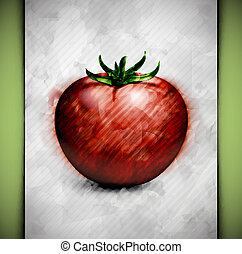 Tomato watercolor - Tomato in watercolor style. Eps 10