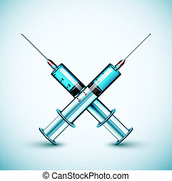 Two medical syringe Eps 10