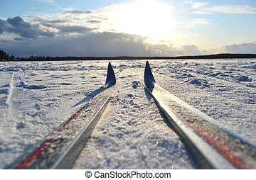 Frozen lake at sunny winter day. - Frozen lake and skiing at...
