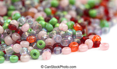 Colorful Beads over white background