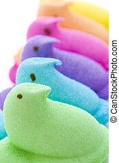 Rainbow Easter - Rainbow color marshmallow peeps and jelly...