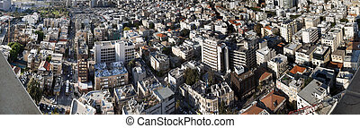 Tel-Aviv Cityscape Panorama - High angle panoramic view of...