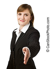 handshake - young business woman shaking hand close up