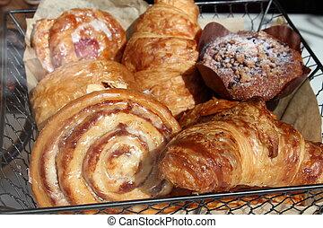 Fancy pastries in shop window
