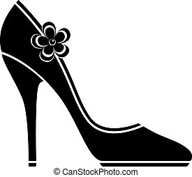 alto, calcanhar, sapatos, (silhouette)