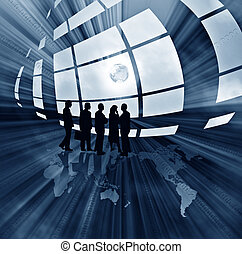 abstract business illustration with globe - Blue abstract...