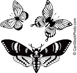 Vector set of butterfly silhouettes for your design