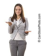 Business lady compares. White isolated background