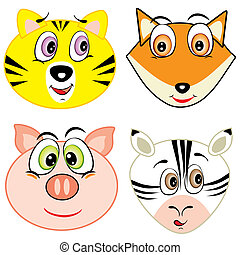 cute cartoon animal head icons - vector illustration