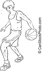 Basketball Player - Outline illustration of a teenager...