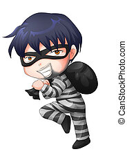 Criminal - Cute cartoon illustration of a thief carrying a...