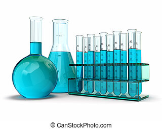 cientific research. Glass test tubes with reagent -...