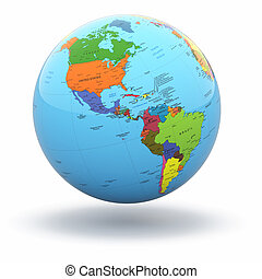 Political world globe on white background. 3d - Political...