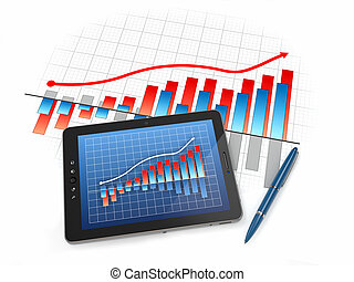 Digital tablet pc with financial chart and graph 3d