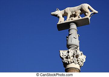 sienese wolf in the piazza del duomo siena tuscany southern...