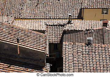 roof tops of castellina in chianti tuscany italy europe