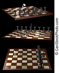 Chess allegory opposition citizen and government (3 views)