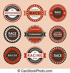 Racing insignia - vintage style, vector illustration