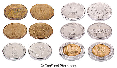 Israeli Coins - High Angle - Both sides of Israeli coins...
