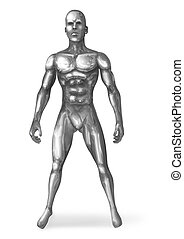 Chromeman Standing - Illustration of a chrome man in...