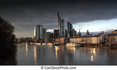 dark clouds over Frankfurt Germany