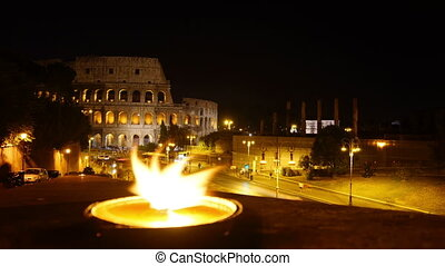 Colosseum ancient atmosphere at present time,time-lapse