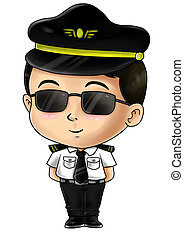 Pilot - Cute cartoon illustration of a pilot