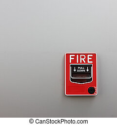 fire alarm on wall background