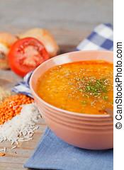 Lentil soup - Turkish lentil and wheat (bulgur) soup - ezo...