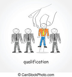 Qualification - Doodle style illustration of a giant hand...
