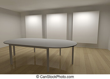 3D, galeria, bordas, reunião, tabela
