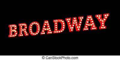 Broadway Lights Sign - Broadway sign in red with bright...